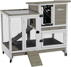 Aivituvin Upgrade Bunny Hooch with Coast and Double Deeper No Leak Tray