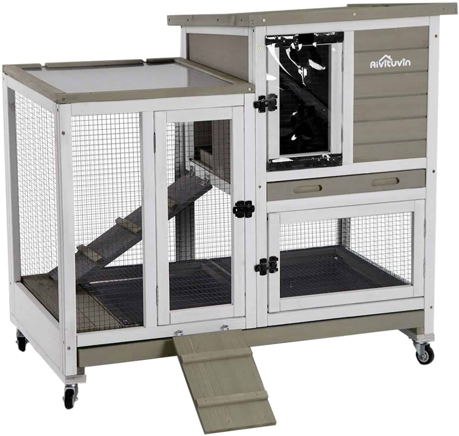 Aivituvin Upgrade Rabbit Hutch with Run and Double Deeper No Leak Tray
