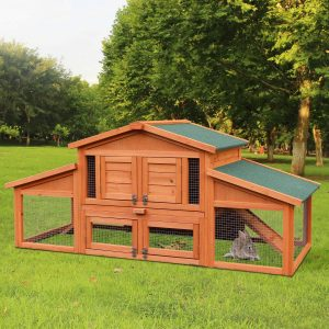 Merax 70 inches Timber Bunny Hooch Outdoor Huff Cage for Small Animals with Two Area