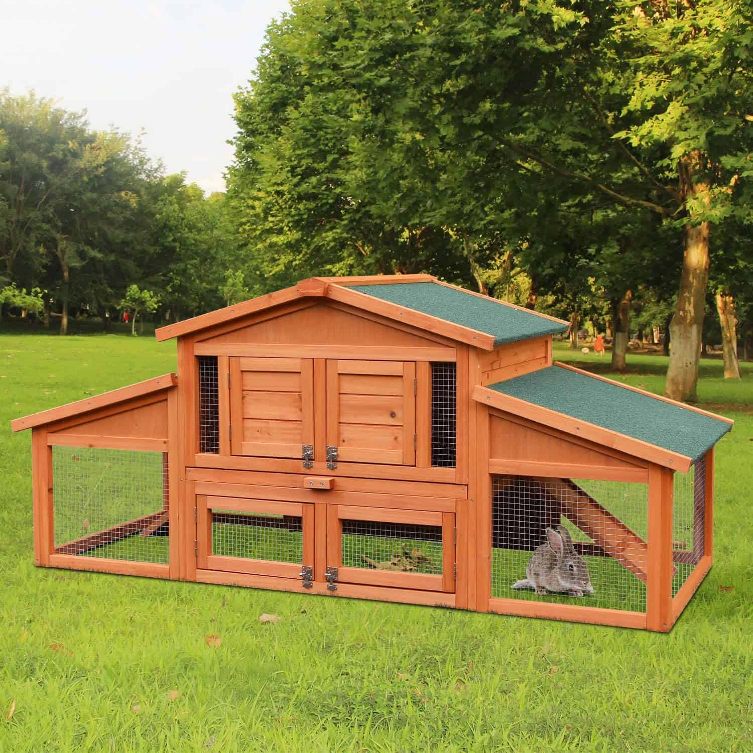 Merax 70 inches Timber Rabbit Hutch Outside Huff Cage for Small Animals with Double Belt