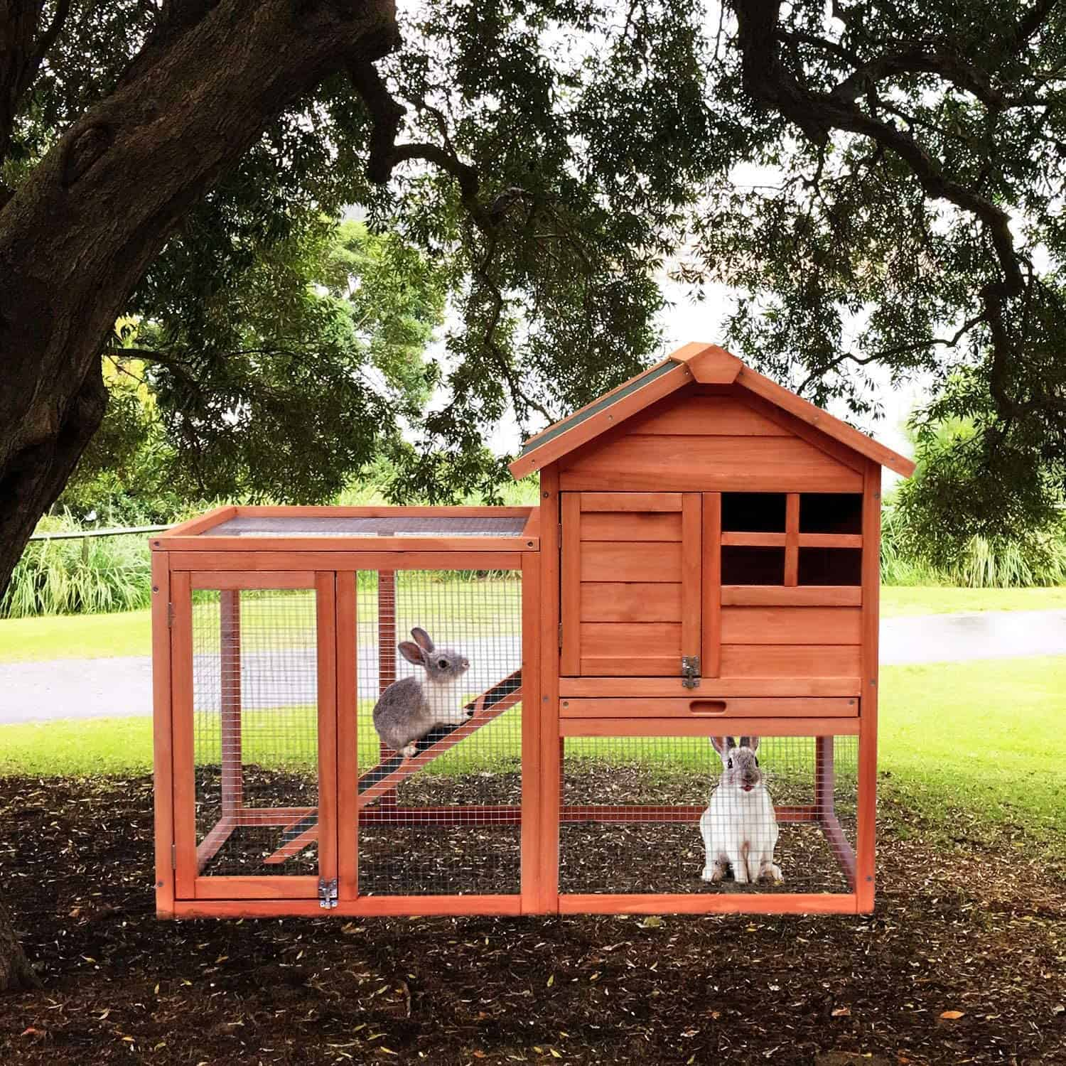 Merax Rabbit Hutch Inside and Outside Bunny Cage with No Leakage Tray