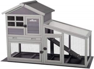 Aivituvin Bunny Hooch with Deeper No Leakage Tray, Removable Bottom Wire Mesh, and PVC Layer