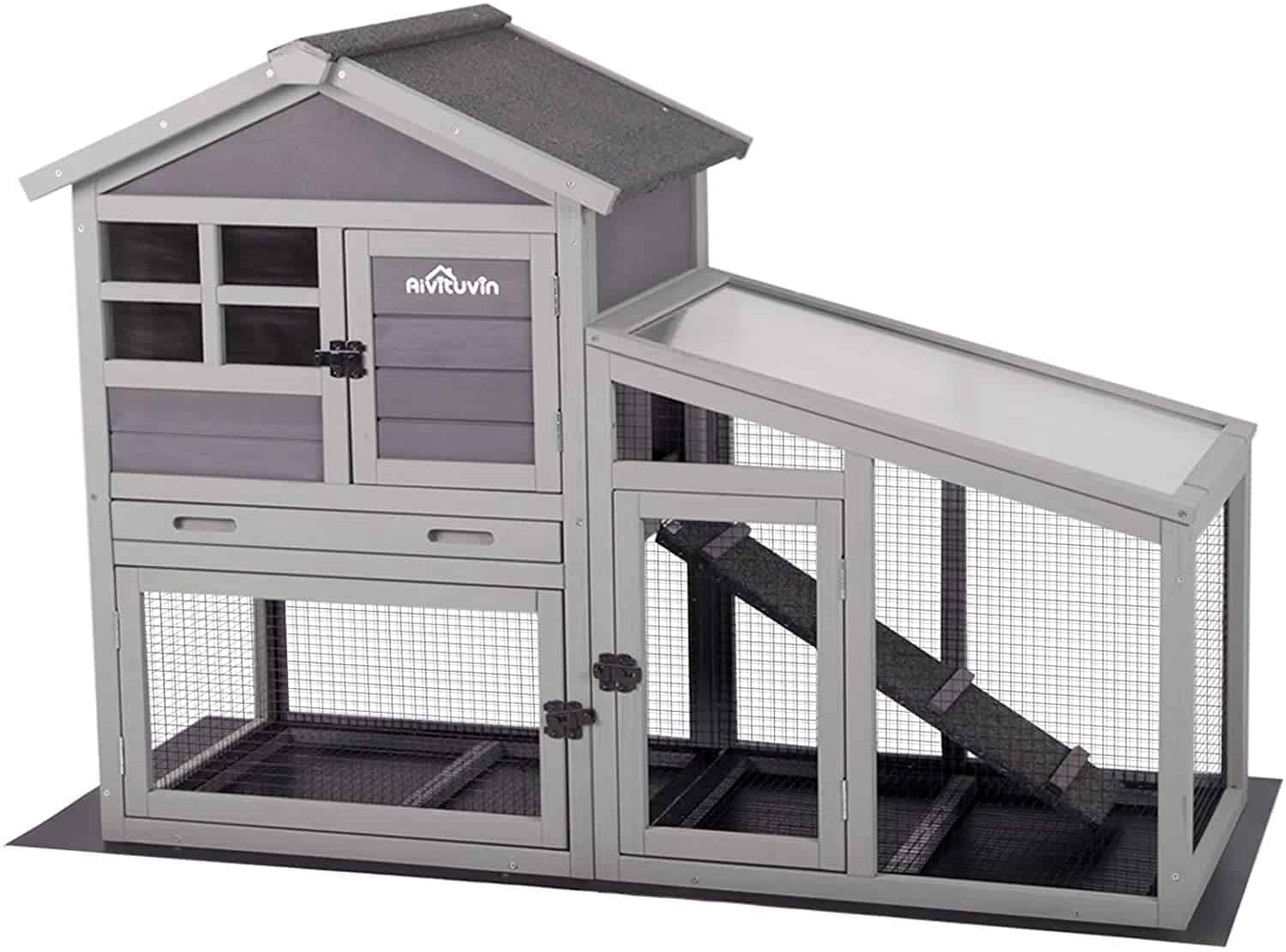 Aivituvin Rabbit Hutch with Deeper, No Leakage Tray, Removable Bottom Wire Mesh, and PVC Layered Version