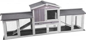 Aivituvin Extra Large Rabbit Timber House Outdoor Rabbit Hutch - Upgrade with Bottom PVC Layer