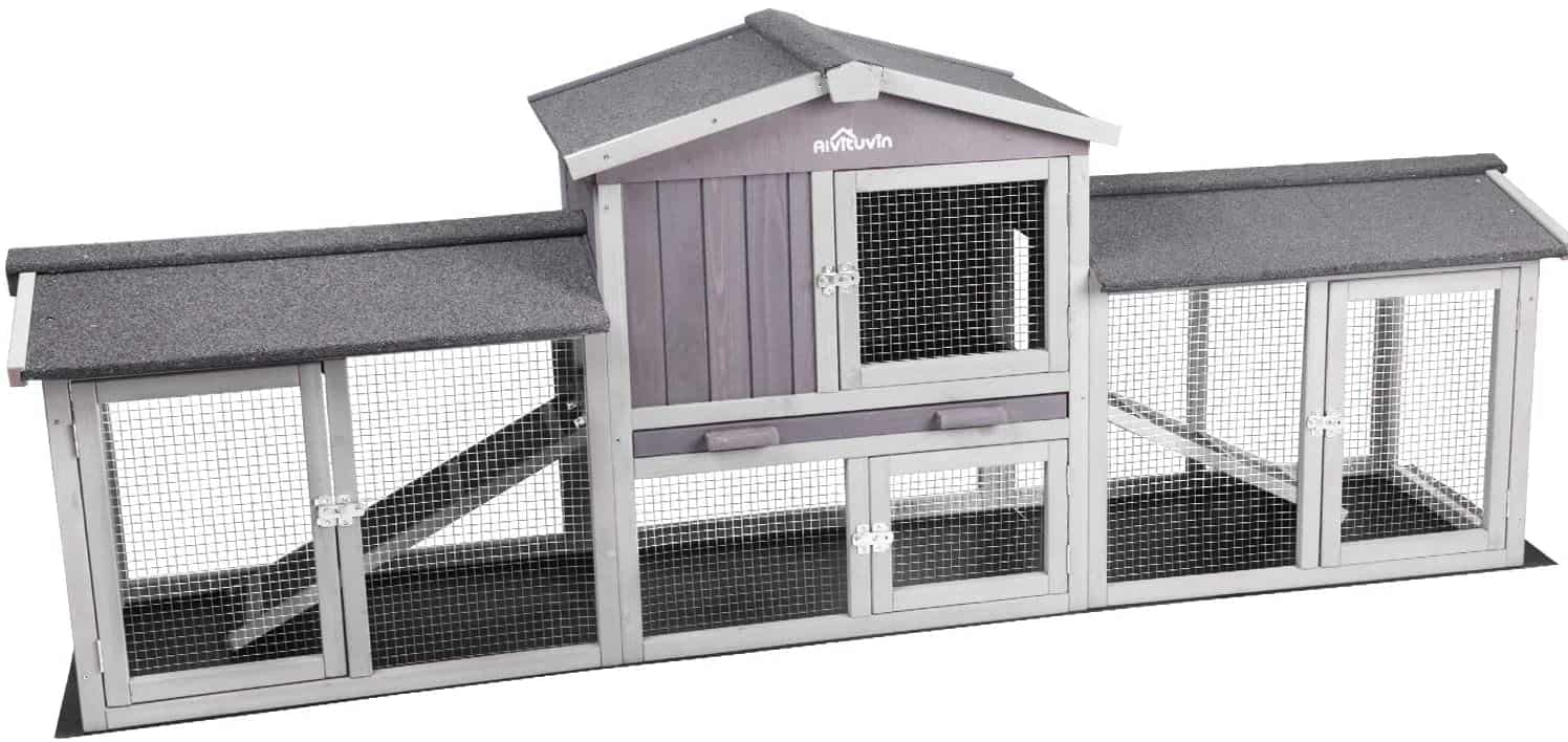 Aivituvin Extra Large Bunny  Timber House Yard Rabbit Hutches - Upgrade with Bottom PVC Layer