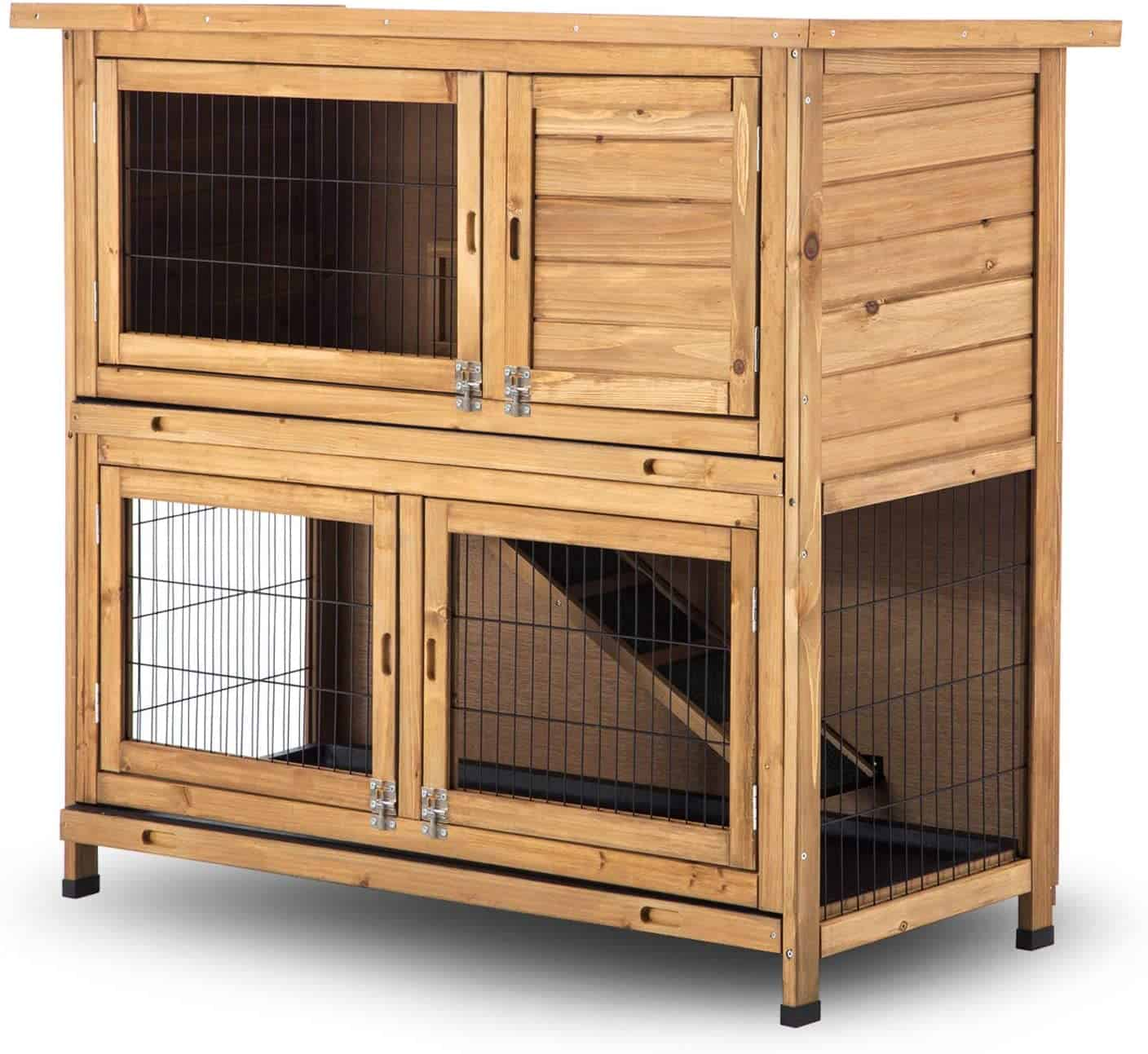 Lovupet Wooden Rabbit Hutch Bunny Cage Timber Small Animal Habitat with Four Doors and Tray