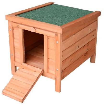 Pawhut Small Wooden Bunny Natural Wood Hutch