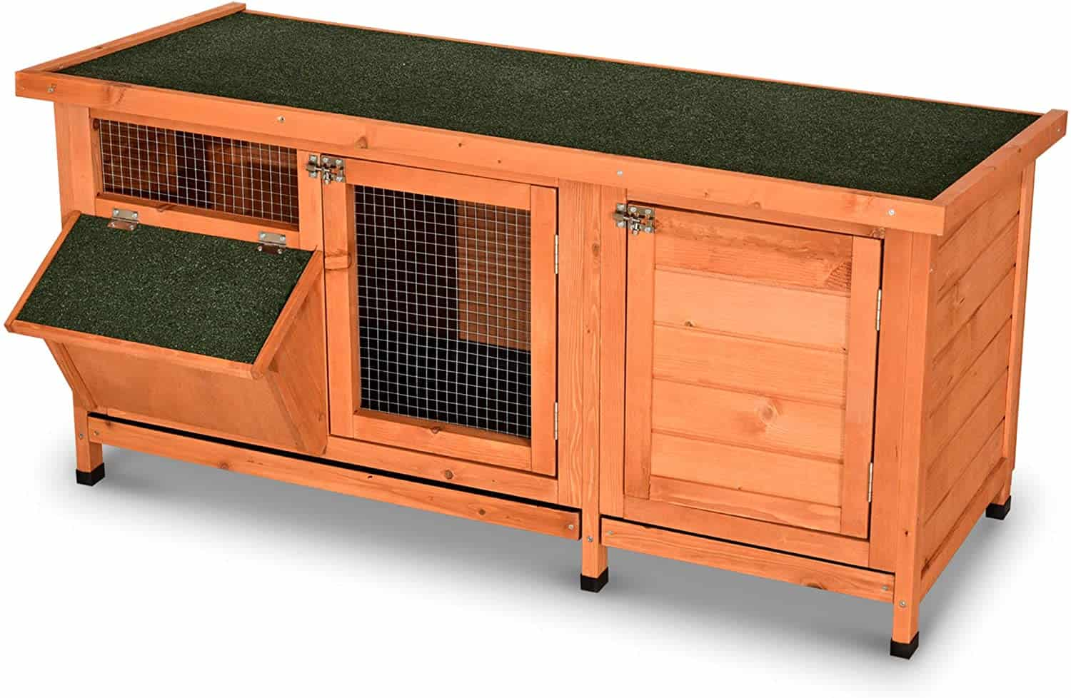 Lovupet Wooden Outdoor and Indoor Rabbit Hutch with Feeding Through